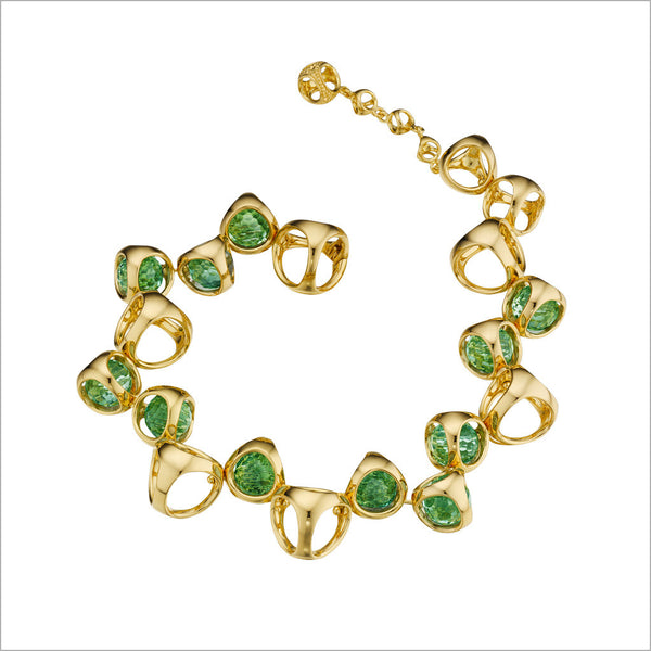 Icona Green Quartz Bracelet in Sterling Silver plated with Gold