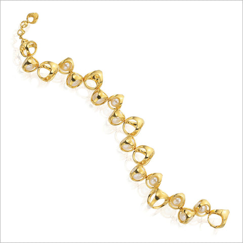 Icona Gold Plated Necklace with Pearls in Sterling Silver