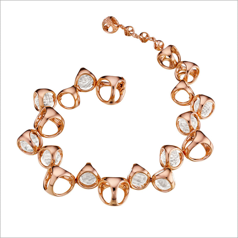 Icona Rock Crystal Bracelet in Sterling Silver plated with 18k Rose Gold