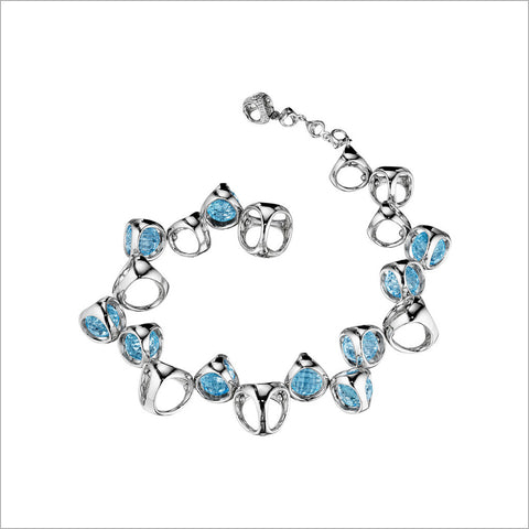 Icona Blue Topaz Bracelet in Sterling Silver plated with Rhodium