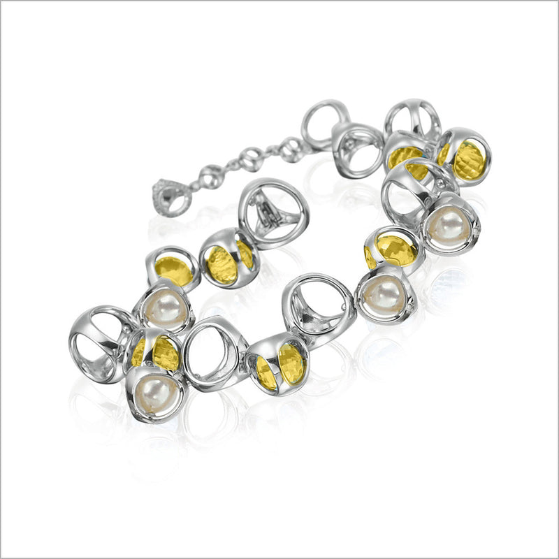 Icona Golden Quartz & Pearl Bracelet in Sterling Silver