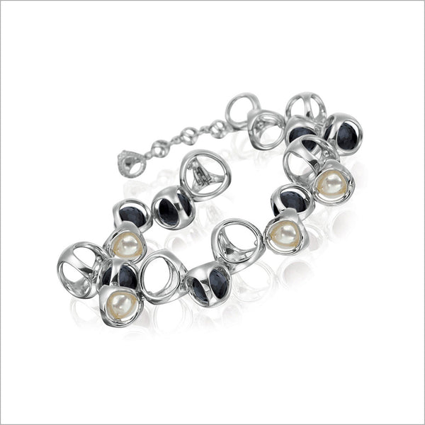 Icona Sterling Silver Bracelet plated with Rhodium with Black Onyx & Pearl Stones