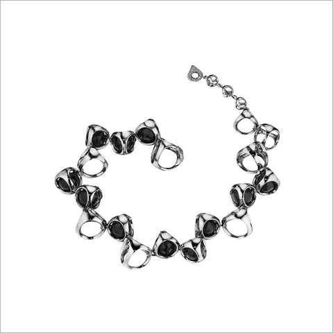 Icona Black Onyx Bracelet in Sterling Silver plated with Rhodium