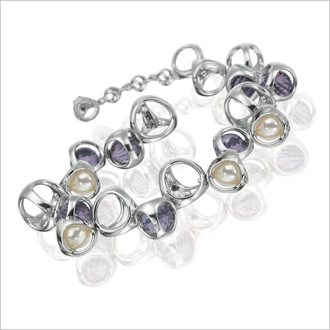 Icona Purple Quartz & Pearl Bracelet in Sterling Silver plated with Rhodium