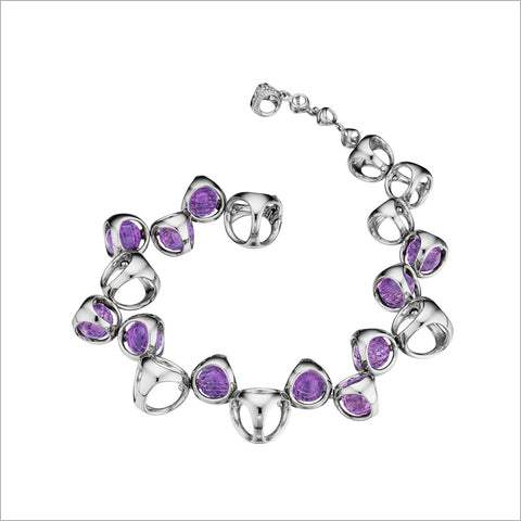Icona Purple Quartz Bracelet in sterling silver plated with rhodium