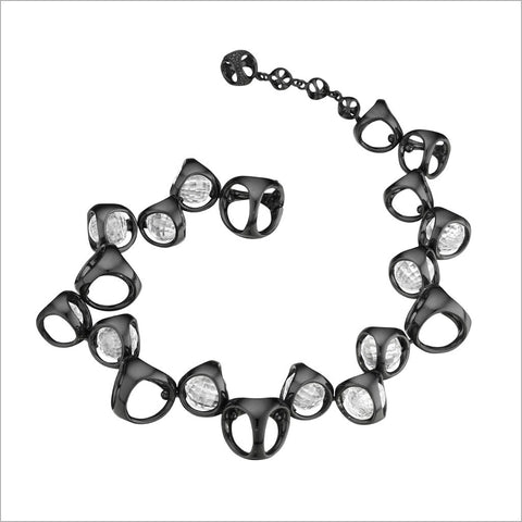 Icona Sterling Silver plated with Black Rhodium Bracelet with Rock Crystal