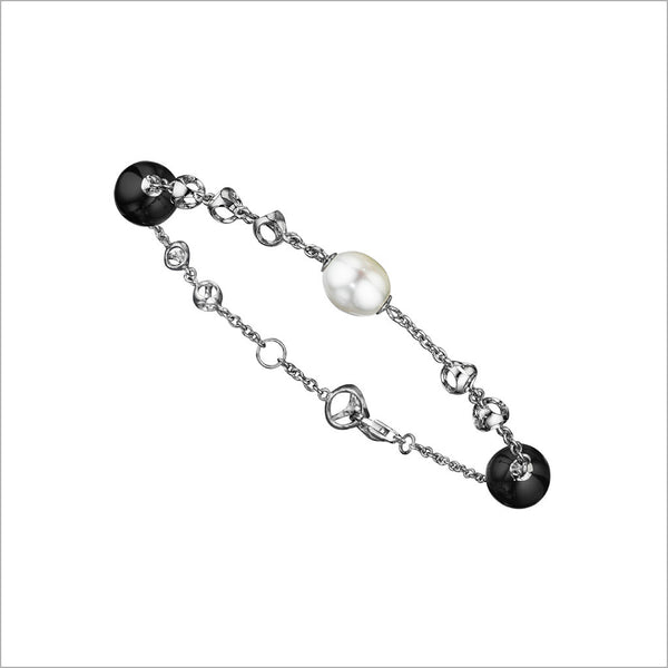Icona Tigers Eye & Pearl Bracelet in Sterling Silver