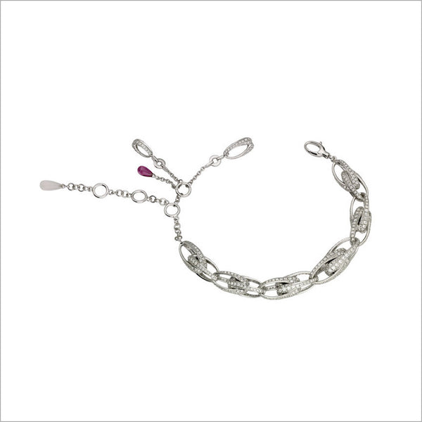 Triadra 18K White Gold & Diamond Bracelet with Rubellite and Moonstone