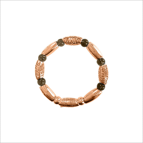 Sahara Smoky Quartz Bracelet in Sterling Silver plated with 18k Rose Gold