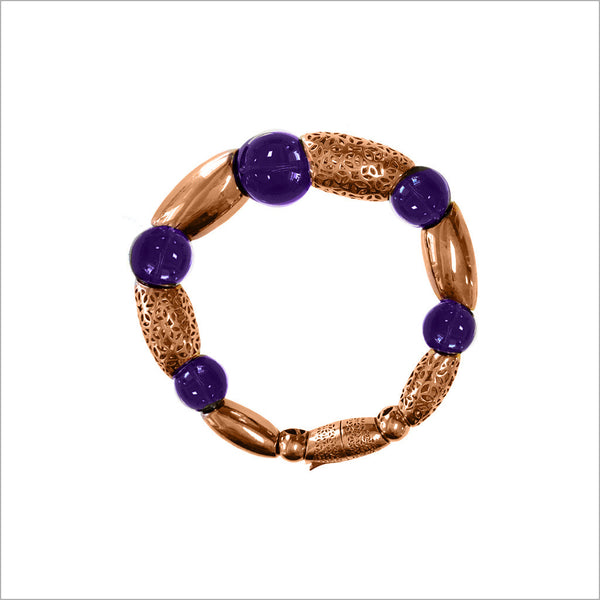 Sahara Amethyst Bracelet in Sterling Silver plated with 18k Rose Gold
