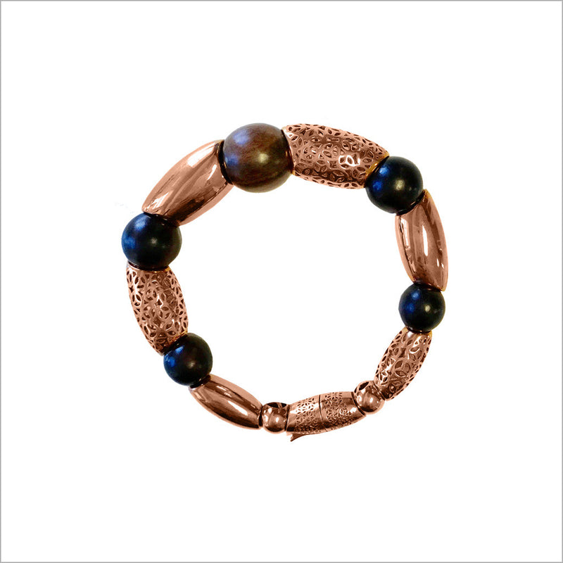Sahara Wood Bracelet in Sterling Silver plated with 18k Rose Gold