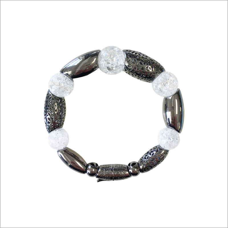 Sahara Rock Crystal Bracelet in Sterling Silver plated with Black Rhodium