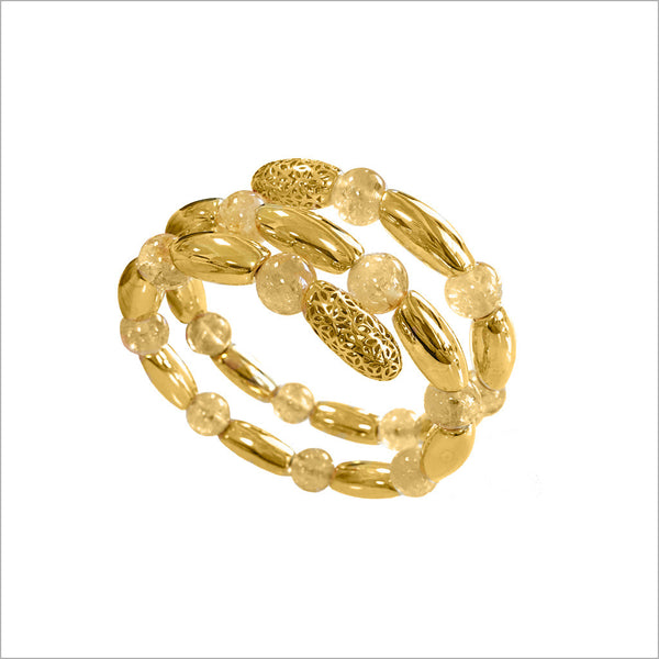 Sahara Honey Quartz Wrap Bracelet in Sterling Silver plated with 18k Yellow Gold