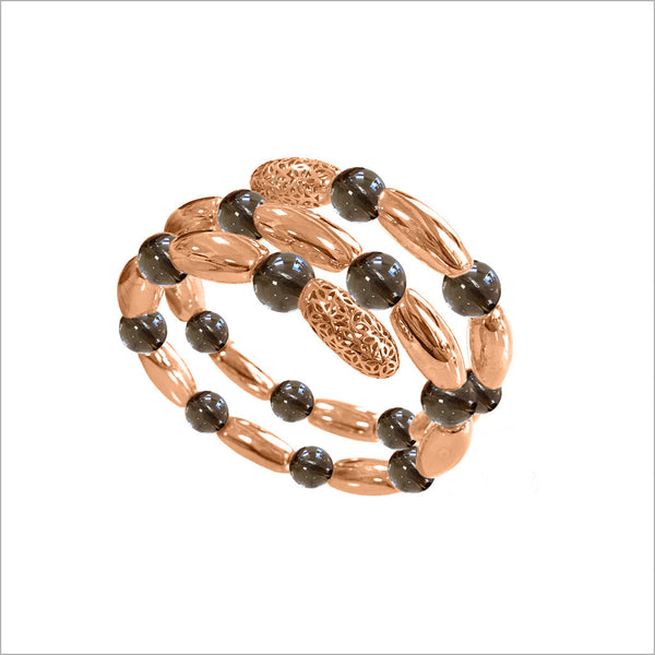 Sahara Smoky Quartz Wrap Bracelet in Sterling Silver plated with 18k Rose Gold