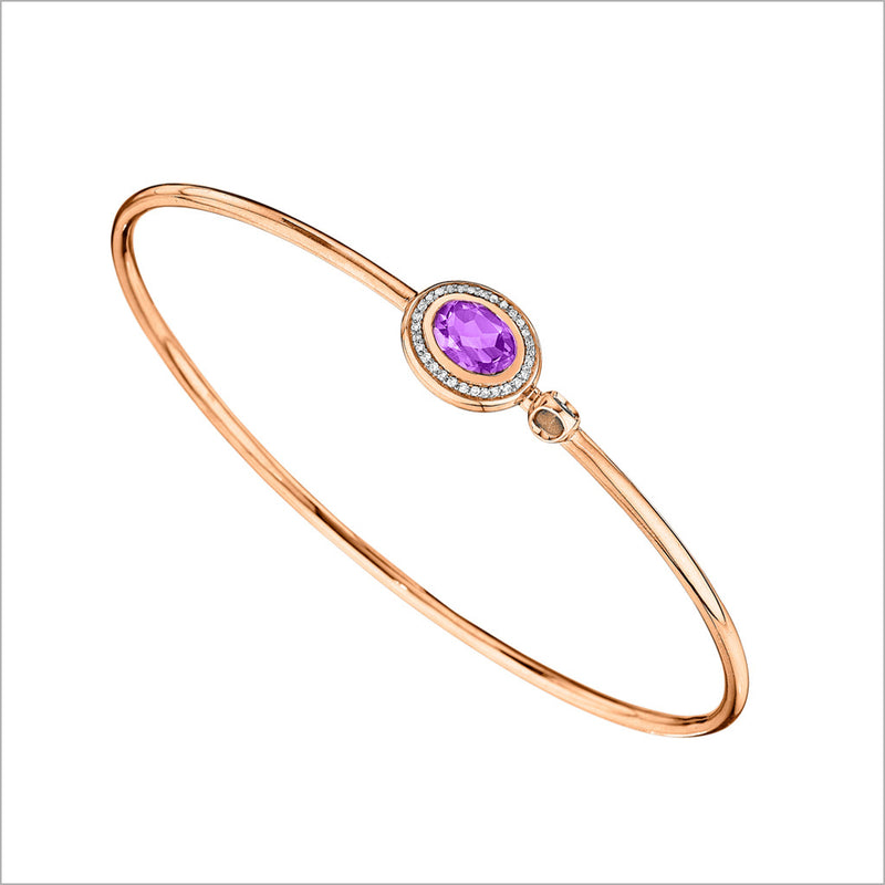 Lolita Amethyst & Diamond Bangle in Sterling Silver plated in Rose Gold