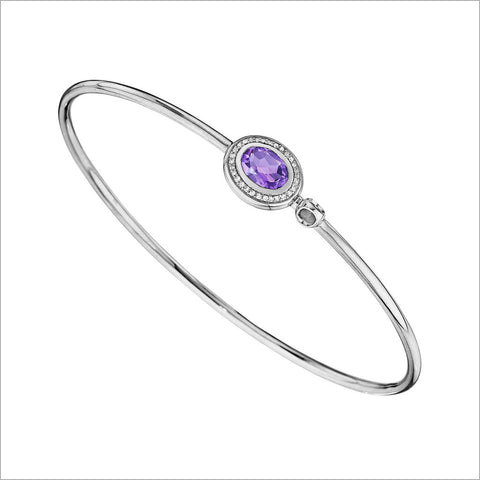 Lolita Silver, Amethyst & Diamond Bangle