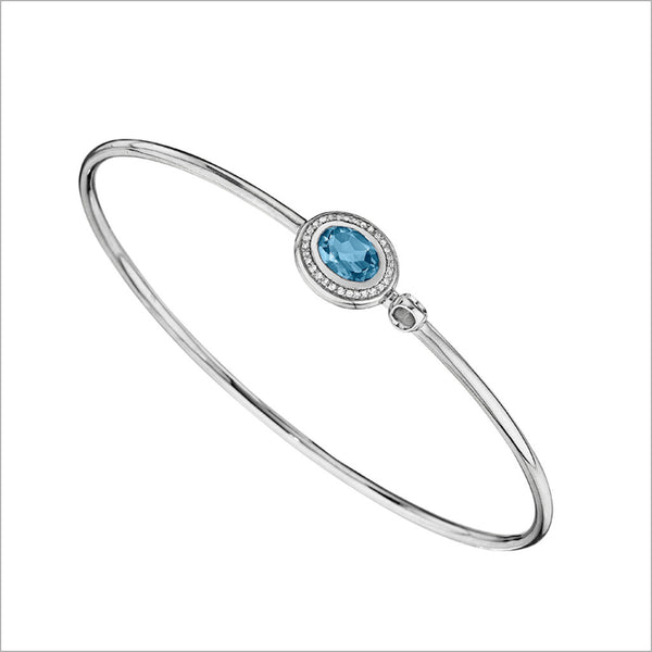 Lolita Blue Topaz & Diamond Bangle in Sterling Silver