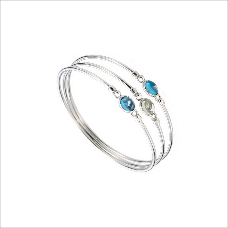 Lolita Blue Topaz & Green Amethyst Bangle in Sterling Silver