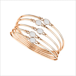 Lolita White Agate Bangle in Sterling Silver plated in 18k Rose Gold