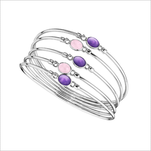Lolita Amethyst & Rose Quartz Bangle in Sterling Silver