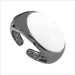 Sahara White Agate Cuff in Sterling Silver plated with Black Rhodium