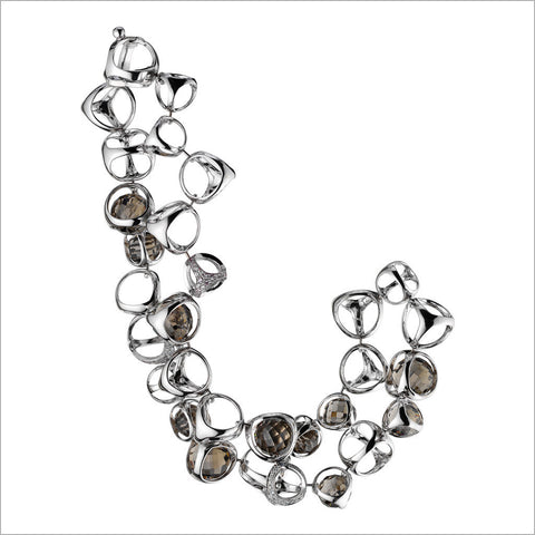 Triadra 18K White Gold & Grey Quartz Bracelet with Diamonds