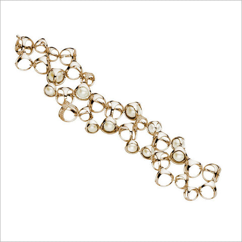 Triadra 18K Yellow Gold & Pearl Bracelet with Diamonds