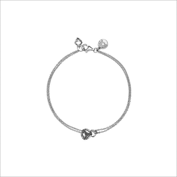 Linked By Love Black Diamond Bracelet in Sterling Silver