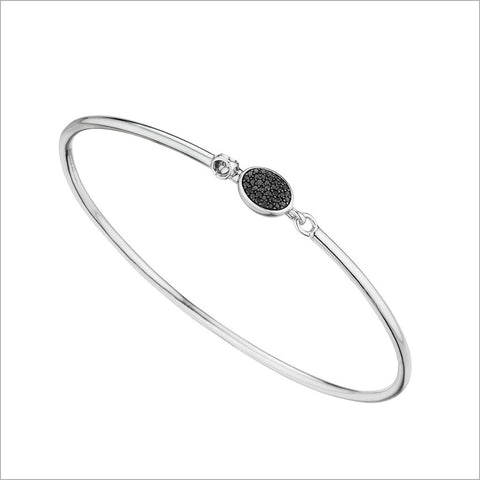 Lolita Bangle in Sterling Silver with Black Pave Diamonds