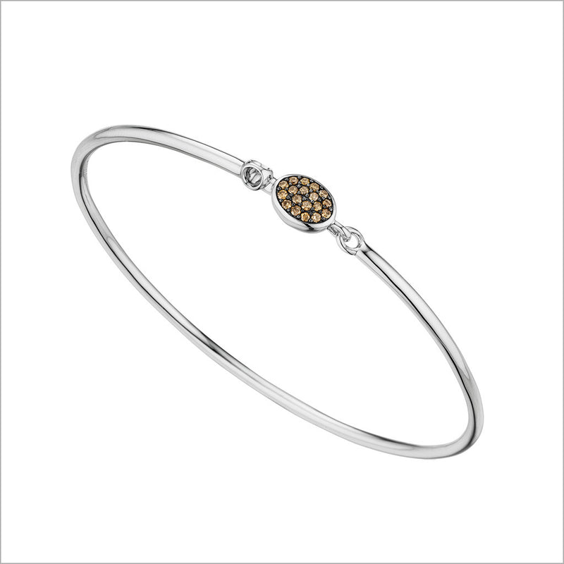Lolita Cognac Diamond Bangle in Sterling Silver