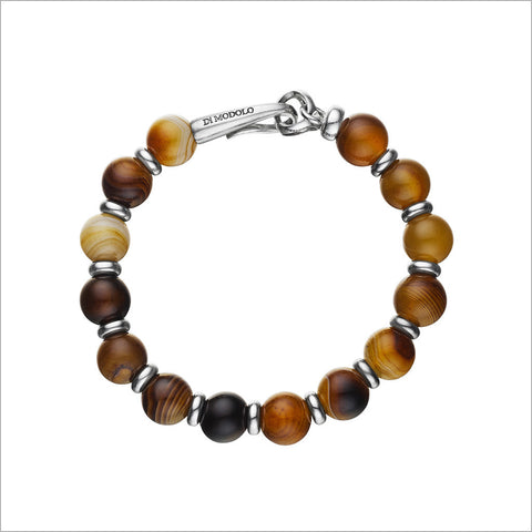 Icona Bead Dyed Agate Bracelet in Sterling Silver