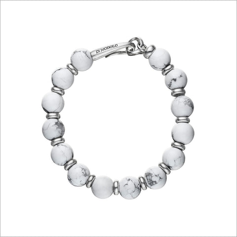 Icona Bead Howlite Bracelet in Sterling Silver