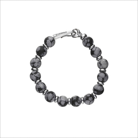 Icona Sterling Silver & Snowflake Obsidian Bead Bracelet