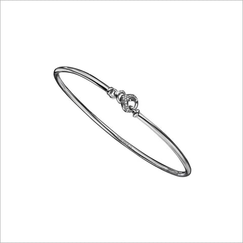 Linked By Love Sterling Silver Diamond Bangle