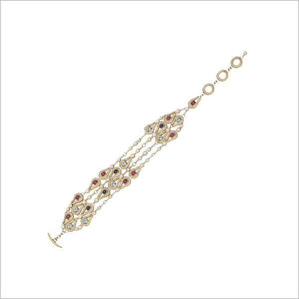 Fiamma 18K Yellow Gold Bracelet with Rhodolite Garnet, Blue Topaz and Sapphire