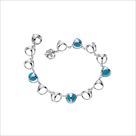 Triadra 18K White Gold Bracelet with Turquoise and Diamonds