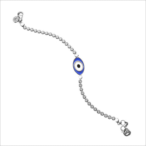 Diamante Evil Eye Charm Bracelet in Sterling Silver