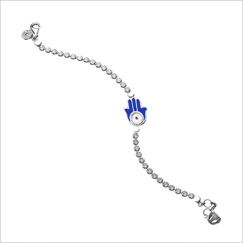 Diamante Hamsa Charm Bracelet in Sterling Silver