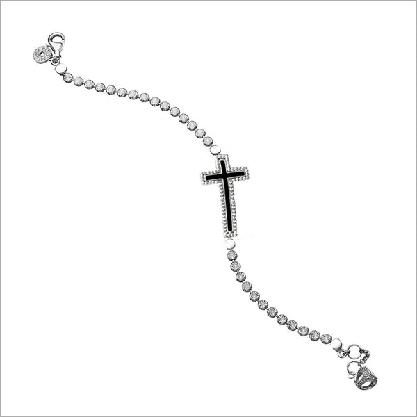 Diamanté Cross Charm Bracelet in Sterling Silver