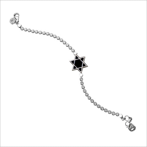Diamante Star of David Charm Bracelet in Sterling Silver