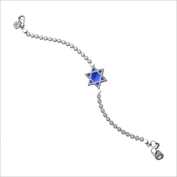 Diamanté Star of David Charm Bracelet in Sterling Silver