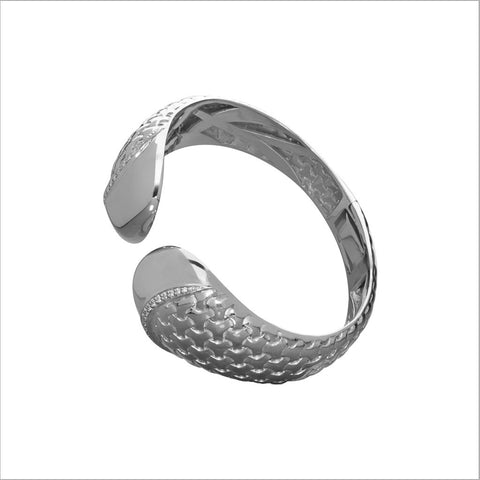 Ricamo Silver Cuff with Diamonds