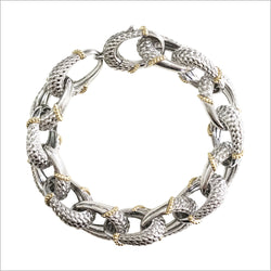 Ricamo Sterling Silver & 18k Yellow Gold Plated Bracelet