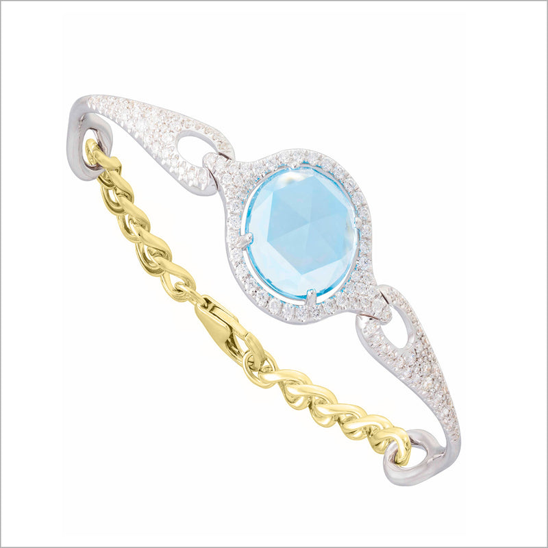 Giulietta 18K Yellow & White Gold Swiss Blue Topaz & Diamond Bracelet