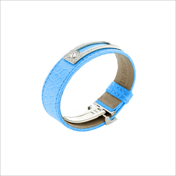 Quadria 18K Gold & Blue Crocodile Leather Bracelet