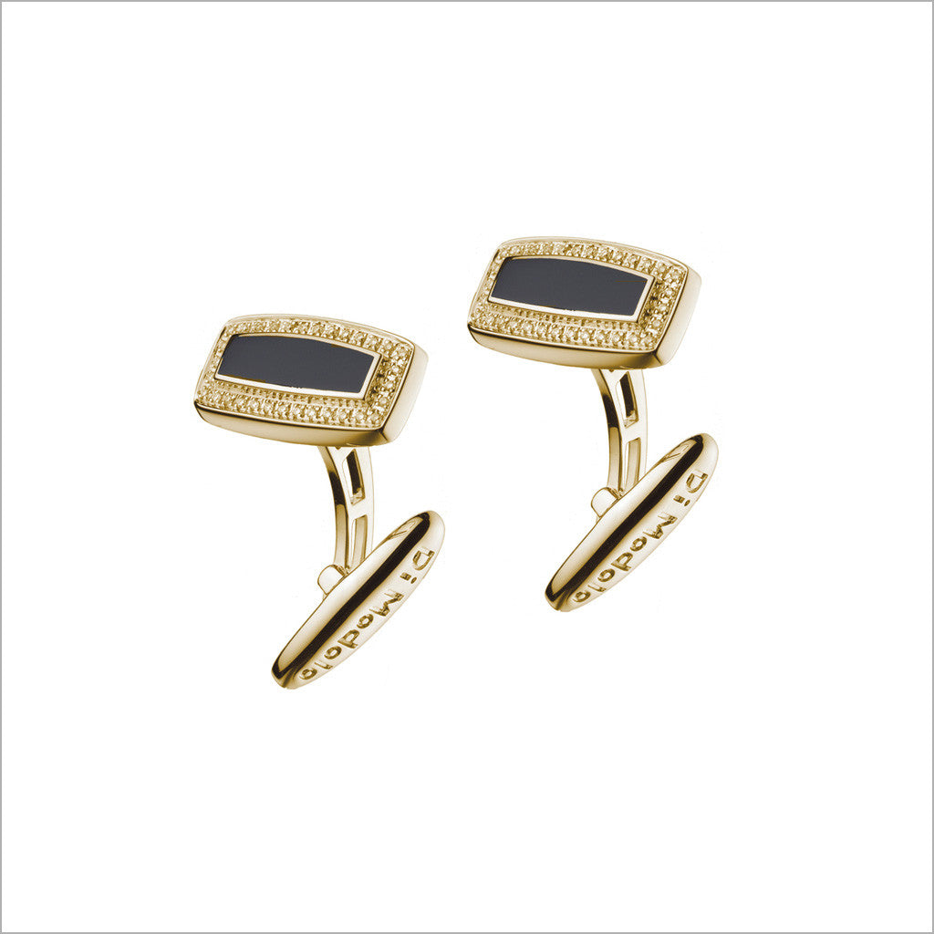 Men's Falco 18K Yellow Gold & Black Onyx Rectangular Cufflinks with Diamonds