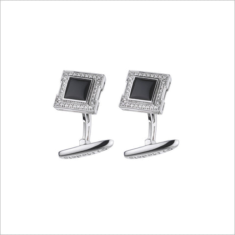 Men's Falco 18K White Gold & Black Onyx Cufflinks with Diamonds