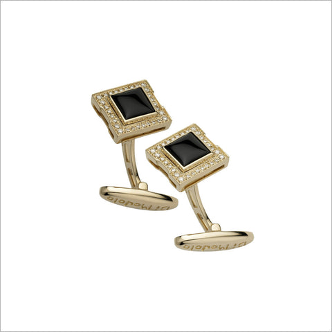 Men's Falco 18K Yellow Gold & Black Onyx Cufflinks with Diamonds