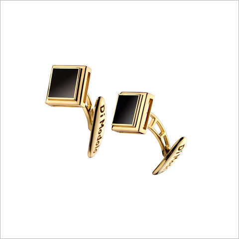 Men's Falco 18K Yellow Gold & Onyx Square Cufflinks