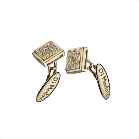 Men's Falco 18K Yellow Gold & Diamond Square Cufflinks